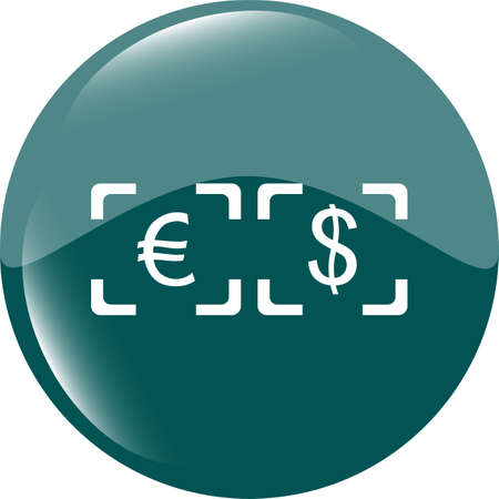 currency converter: Currency exchange sign icon. Currency converter symbol. Money label. shiny button. Modern UI website button