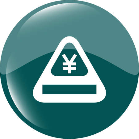 Attention caution sign icon with yen sign. warning symbol. modern ui website button photo