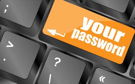 protecting your business: el bot�n de la contrase�a en el teclado - concepto de seguridad
