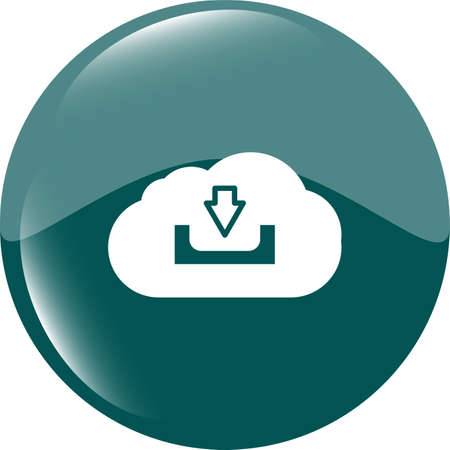 abstract cloud icon. Upload download button. Load symbol. Round button photo
