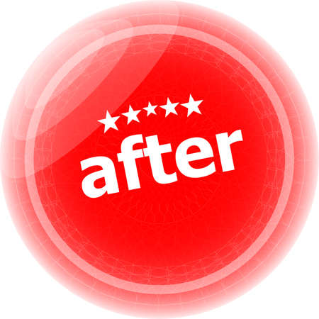after word red stickers, icon button, business concept photo