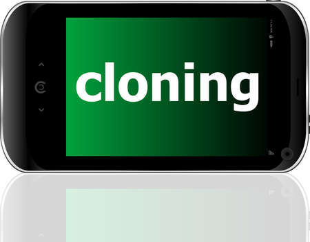 cloning word on smart mobile phone, business concept Stock Photo