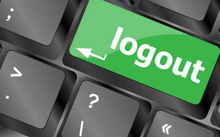log out: Computer keyboard key log out, business concept Stock Photo
