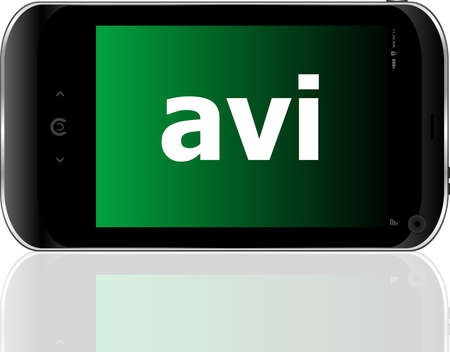 avi: Web development concept: smartphone with word avi on display