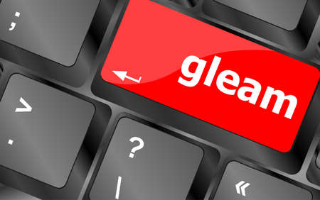 gleam: gleam word on computer pc keyboard key Stock Photo