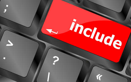 include word, social media icon on laptop keyboard Stock Photo