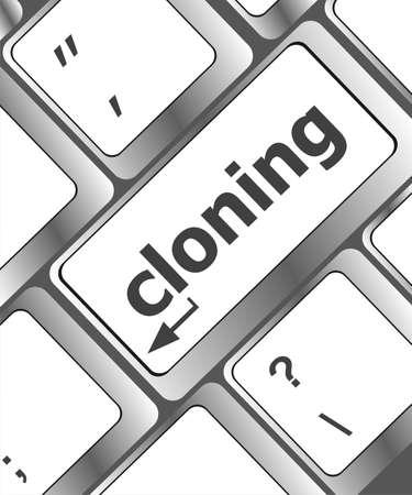 clonacion: clonaci�n bot�n del teclado en el PC ordenador Foto de archivo