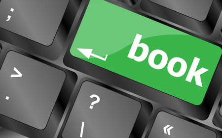 key words art: Book button on keyboard keys - business concept