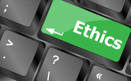 ethics concept on the modern computer keyboard key photo