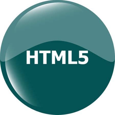 html 5 sign icon. Programming language symbol. Circles buttons photo