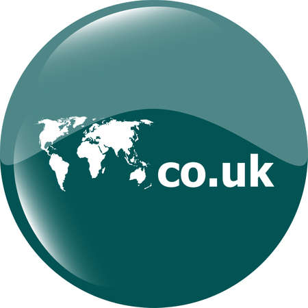 Domain CO.UK sign icon. Top-level internet domain symbol with world map photo
