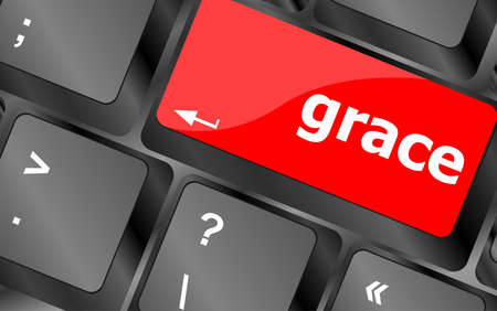 grace: Computer keyboard button with grace button Stock Photo
