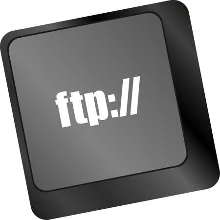 ftp: Computer keyboard with ftp key, technology background Stock Photo