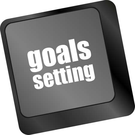 hit tech: Goals setting button on keyboard with soft focus