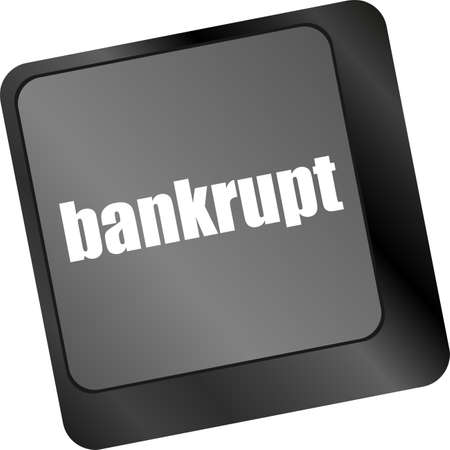 A keyboard with key reading bankrupt, business concept Stock Photo - 29159631