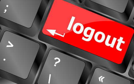 Computer keyboard key log out, business concept photo
