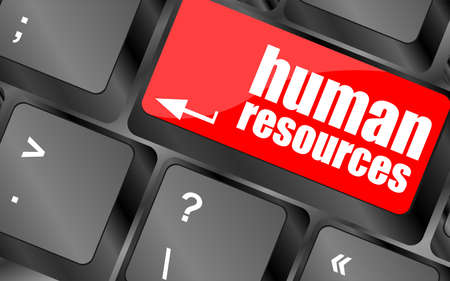 teleworker: human resources button on computer keyboard key Stock Photo