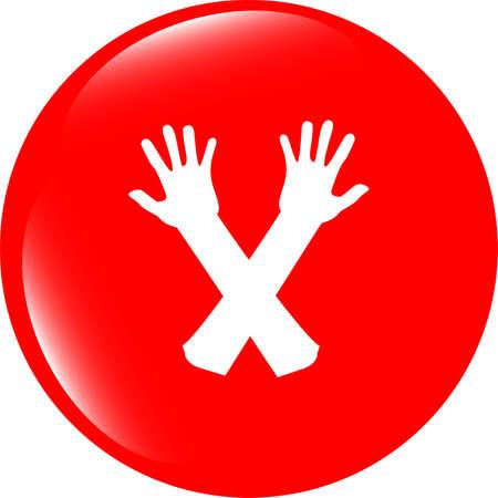 web button hand icon on white photo
