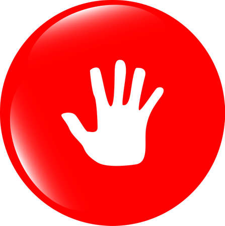 hand icon on web button photo