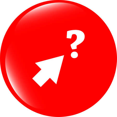 computer button with arrow and questions mark, web icon isolated on white photo