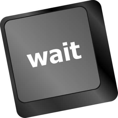 ccloseup: wait word button on a computer keyboard