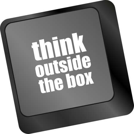 think outside the box words, message on enter key of keyboard Stock Photo