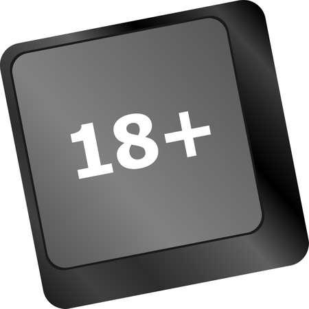 18 plus button on computer keyboard keys photo