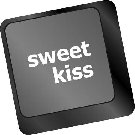 sweet kiss words showing romance and love on keyboard keys photo