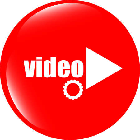 video play button (icon) over white background photo