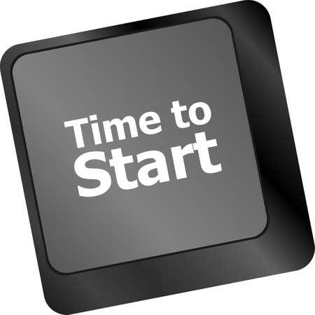 timezone: Time to start text button on keyboard keys Stock Photo