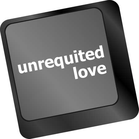 unrequited love: unrequited love on key or keyboard showing internet dating concept