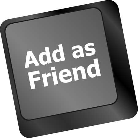 add as friend: Social media concept: Keyboard with Add As Friend button Stock Photo