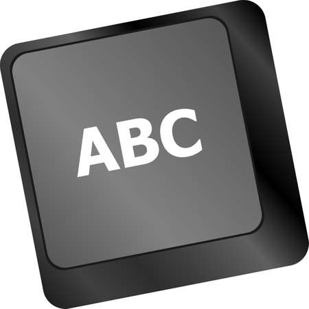 typer: computer keyboard with abc button - social concept Stock Photo