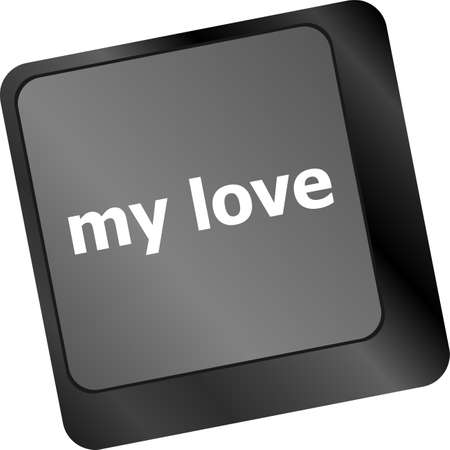 internet dating: my love on key or keyboard showing internet dating concept