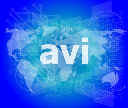 avi: digital concept: avi word on digital screen Stock Photo
