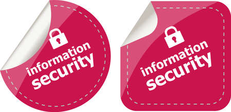 information security stickers label tag set isolated on white photo