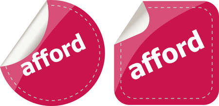 afford: afford word stickers set, icon button isolated on white