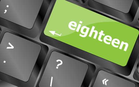 eighteen: enter keyboard key with eighteen button