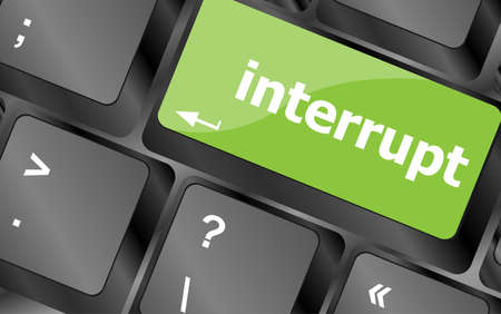 interrupt: computer keyboard with word interrupt Stock Photo