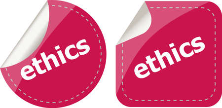 business ethics: stickers label set business tag with ethics word
