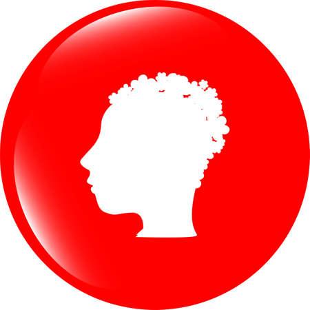 wen: idea people head circle glossy wen icon Stock Photo