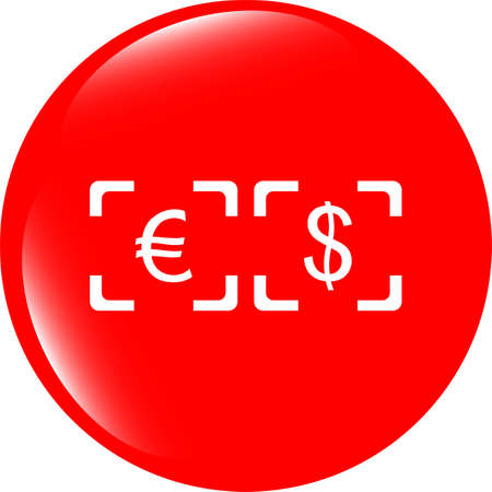 Currency exchange sign icon. Currency converter symbol. Money label. shiny button. Modern UI website button photo