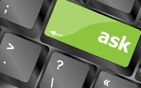 ask button on computer keyboard key photo