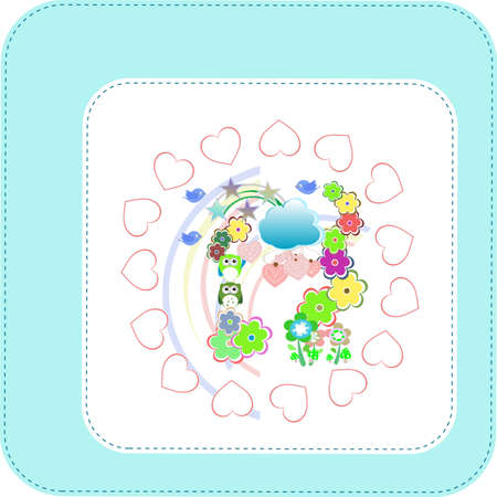 Background with owls family in flowers and love hearts photo