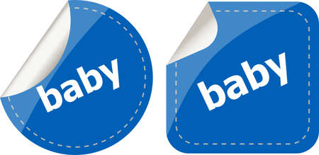 baby word on stickers button set, label photo