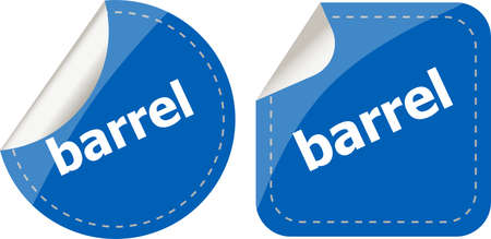 barrel word on stickers button set, business label photo