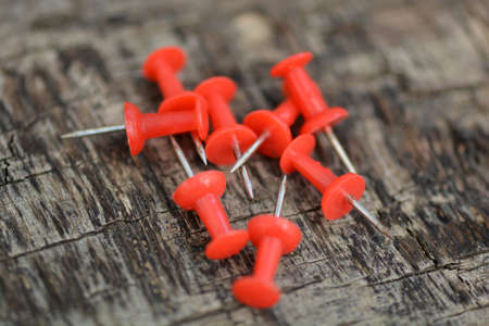 Set of old red pins on wood background photo