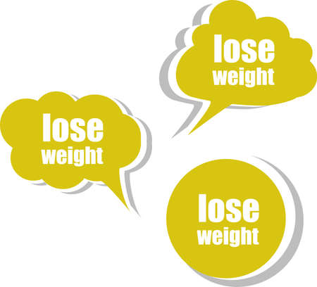lose weight word on modern banner design template. set of stickers, labels, tags, clouds photo