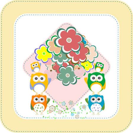 owls, birds, flowers, cloud and love heart photo