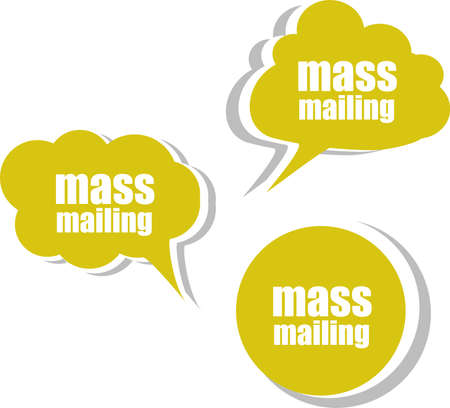 mailing: mass mailing. Set of stickers, labels, tags. Business banners Stock Photo